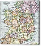 Irish Free State And Northern Ireland From Bacon S Excelsior Atlas Of The World Canvas Print