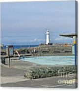 Irish Sea Lighthouse On Pier Canvas Print
