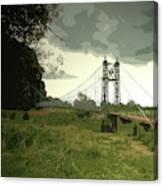 Iron Footbridge Near Doveridge, Elegant Suspension Bridge Canvas Print