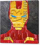 Iron Man Superhero Vintage Recycled License Plate Art Portrait Canvas Print