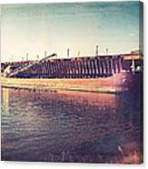 Iron Ore Freighter In Dock Canvas Print