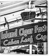 Island Cigar Factory Key West - Black And White Canvas Print