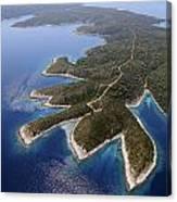 island Hvar from air Canvas Print