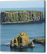 Island Off The Coast Near Ballintoy Canvas Print