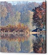 Island Reflected In The Potomac River Canvas Print