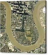 Isle Of Dogs, Aerial Photograph Canvas Print