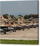 Israeli Air Force F-16`s Of Three Canvas Print