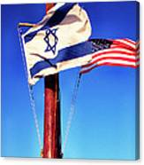 Israeli Flag And Us Flag Canvas Print