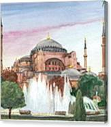 Istanbul Mosque Watercolor Painting Canvas Print