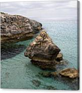 It Rocks 2 - Close To Son Bou Beach And San Tomas Beach Menorca Scupted Rocks And Turquoise Water Canvas Print