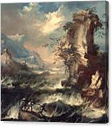 Italian Seascape With Rocks And Figures Canvas Print