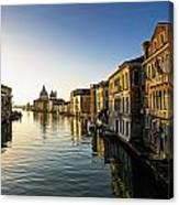 Italy, Venice, Buildings Along Canal Canvas Print