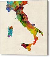 Italy Watercolor Map Italia Canvas Print