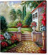 Italyan Villa With Garden  Canvas Print