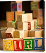 Its A Girl - Alphabet Blocks Canvas Print