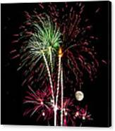 Its Raining Red Drops On The Red Flowers - Fireworks And Moon Canvas Print