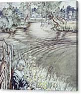Izaak Walton Reclining Against A Fence Canvas Print