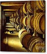 Jack Daniel Whiskey Maturing In Barrels In Old Warehouse At The Lynchburg Distillery Tennessee Usa Canvas Print