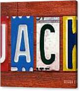 Jack License Plate Name Sign Fun Kid Room Decor Canvas Print