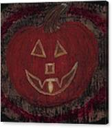 Jack O Lantern Set On A Dark Background With Glowing Flame Canvas Print