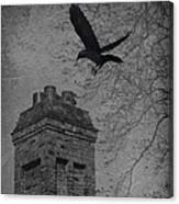 Jackdaw Flying To Chimney Canvas Print