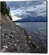 Jackson Lake Shore With Grand Tetons Canvas Print