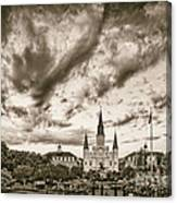 Jackson Square And St. Louis Cathedral In Black And White - New Orleans Louisiana Canvas Print