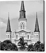 Jackson Square In Black And White Canvas Print