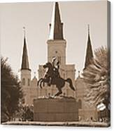 Jackson Square Statue In Sepia Canvas Print