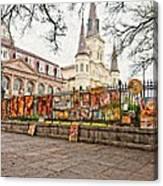 Jackson Square Winter Impasto Canvas Print