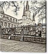 Jackson Square Winter Sepia Canvas Print