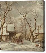 Jacob Cats Dutch, 1741 - 1799, Winter Scene Canvas Print