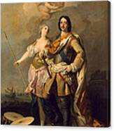 Peter I With Minerva With The Allegorical Figure Of Glory Canvas Print