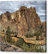 Jagged Peaks And River Reflections Canvas Print