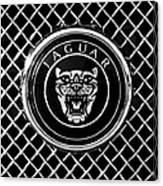Jaguar Grille Emblem -0317bw Canvas Print