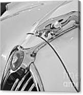 Jaguar Hood Ornament In Black And White Canvas Print