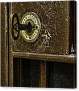 Jail Cell Door Lock  And Key Close Up Canvas Print