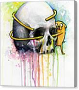 Jake The Dog Hugging Skull Adventure Time Art Canvas Print