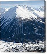 Jakobshorn Davos Mountains And Town Switzerland Canvas Print