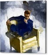 James Dean In Yellow Leather Chair Canvas Print
