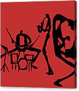 Jammin Jazz On Red Canvas Print