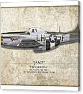 Janie P-51d Mustang - Map Background Canvas Print