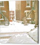 January Winter Street Winding Snow Covered Staircase Montreal Art Verdun Duplex Painting Cspandau Canvas Print