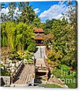 Japan In Pasadena - Beautiful View Of The Newly Renovated Japanese Garden In The Huntington Library. Canvas Print