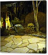 Japanese Garden Simple Shrine Lit At Night 01 Canvas Print
