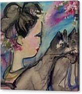 Japanese Lady And Felines Canvas Print