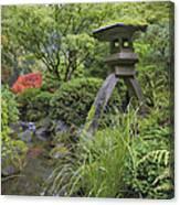 Japanese Stone Lantern By Water Stream Canvas Print