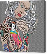 Japanese Tat Girl Grey  Canvas Print