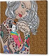 Japanese Tat Girl Leopard Canvas Print