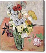 Japanese Vase With Roses And Anemones Canvas Print